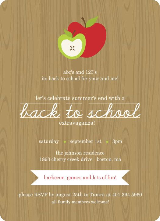 wood grain with apples back to school party invitation by cards pinterest. Black Bedroom Furniture Sets. Home Design Ideas