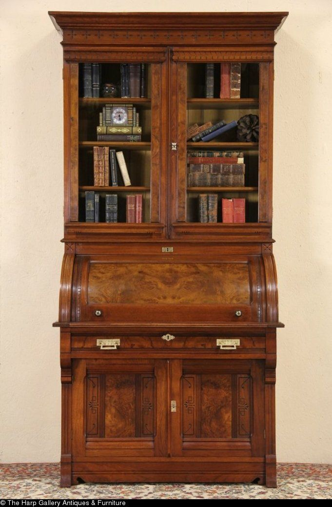 Victorian Eastlake 1870 Cylinder Roll Top Secretary Desk Bookcase