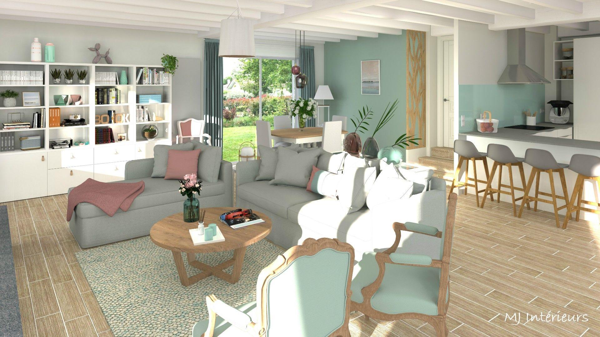 Decoratrice Interieur La Rochelle rénovation et décoration d'une pièce à vivre à meschers sur