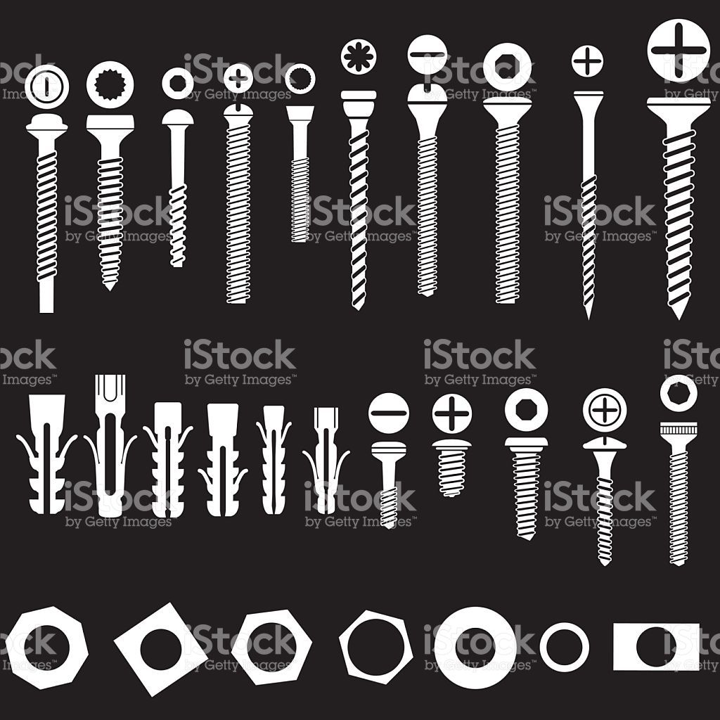 silhouette of Screws nuts and wall plugs icons collection