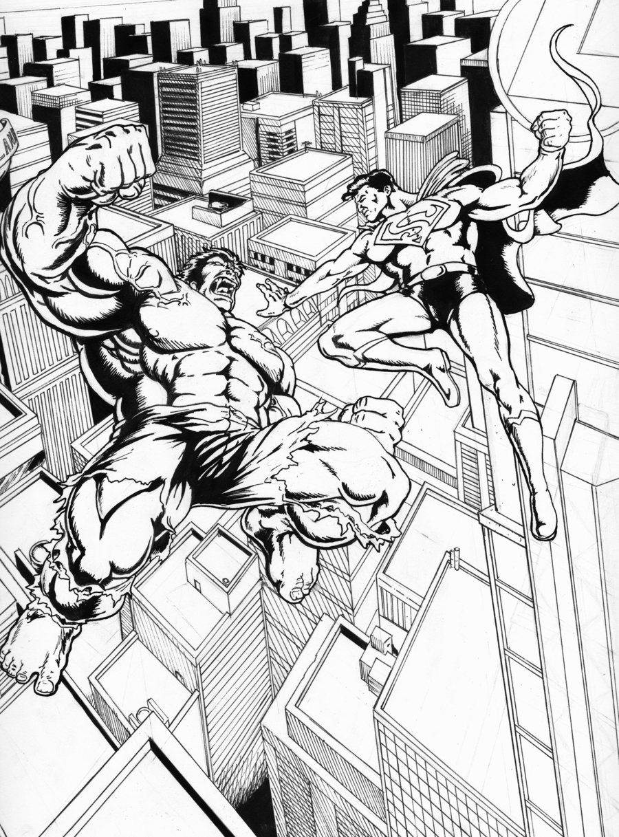 Superman Vs The Hulk By Carlchrappa On Deviantart Superhero Coloring Pages Marvel And Dc Crossover Superhero Coloring