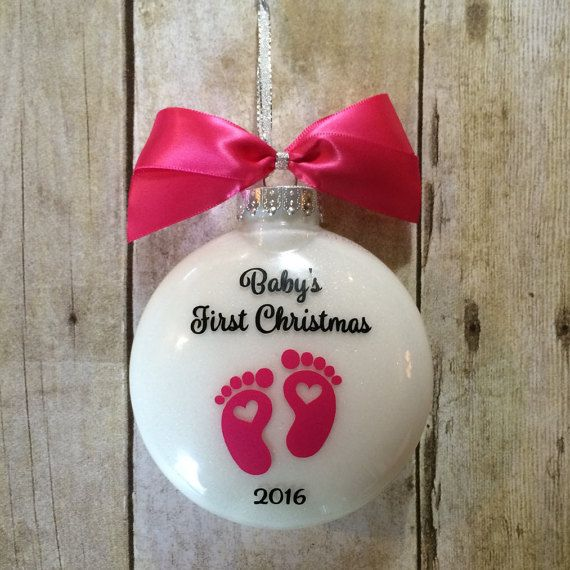 Personalized Babys 1st Christmas Ornament Gift for a girl