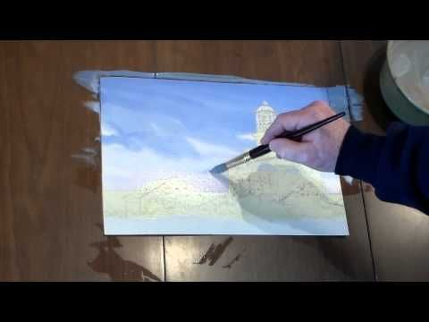 ▶ How to paint a Lighthouse in Watercolor - Step 2: Laying in the Sky - YouTube