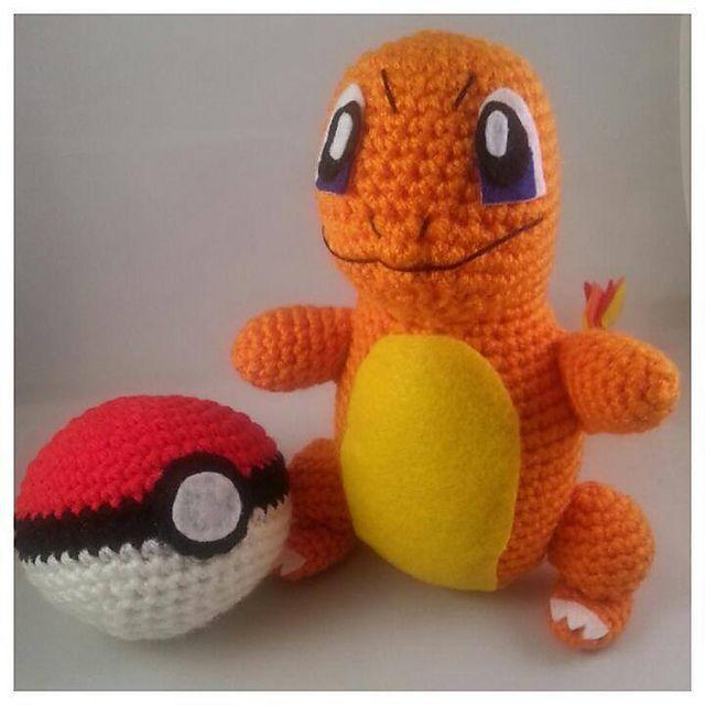 Crochet Pokemon Amigurumi Plush Charmander and Pokeball   My crochet ...