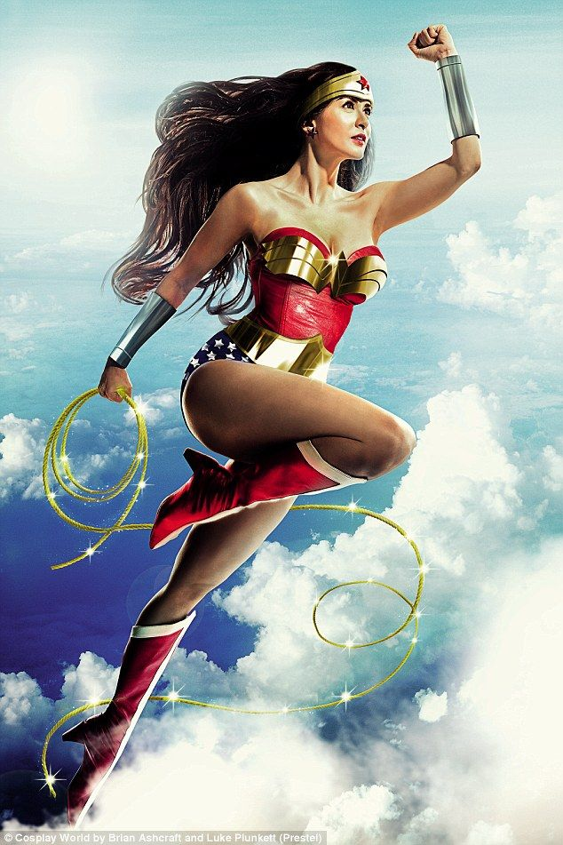 This Wonder Woman outfit features chrome cuffs, sparkling spandex, and a metal belt and 'W' on the bust, pictured- Marian Riveraas Wonder Woman ©JayTablante
