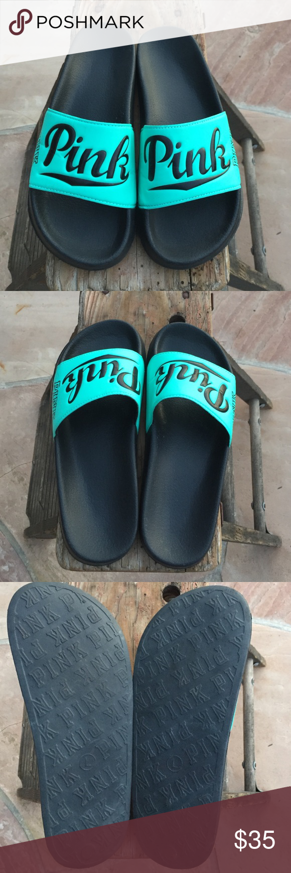 844776bb152 PINK VICTORIA SECRET Large 9-10 Slides Size large 9-10. Worn a few times  excellent condition. Teal with black PINK Victoria s Secret Shoes Sandals