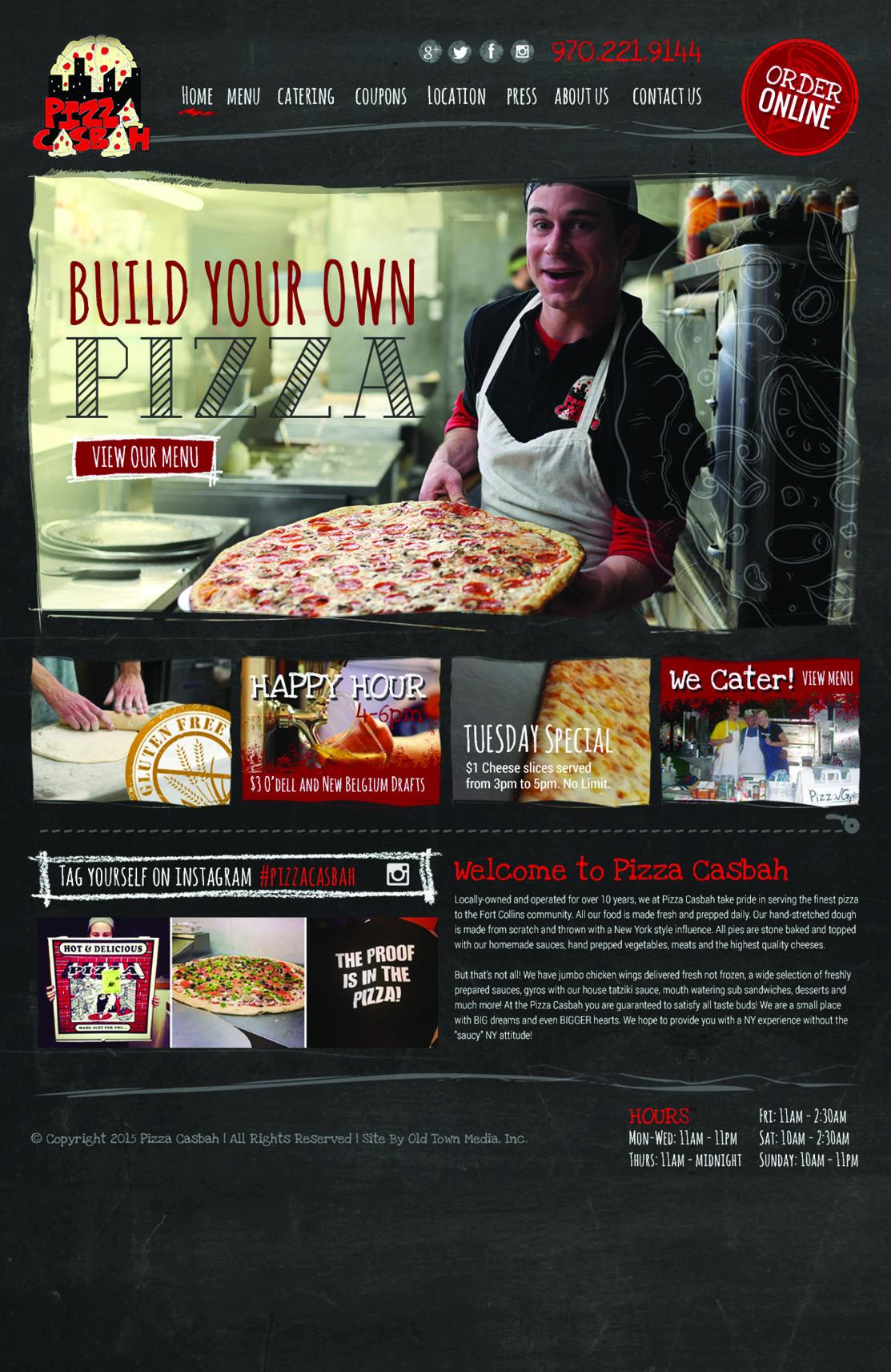 pizza casbah website design pizza website design website designs