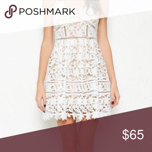 Crochet overlay dress white Crochet overlay dress in white/nude Dresses Mini