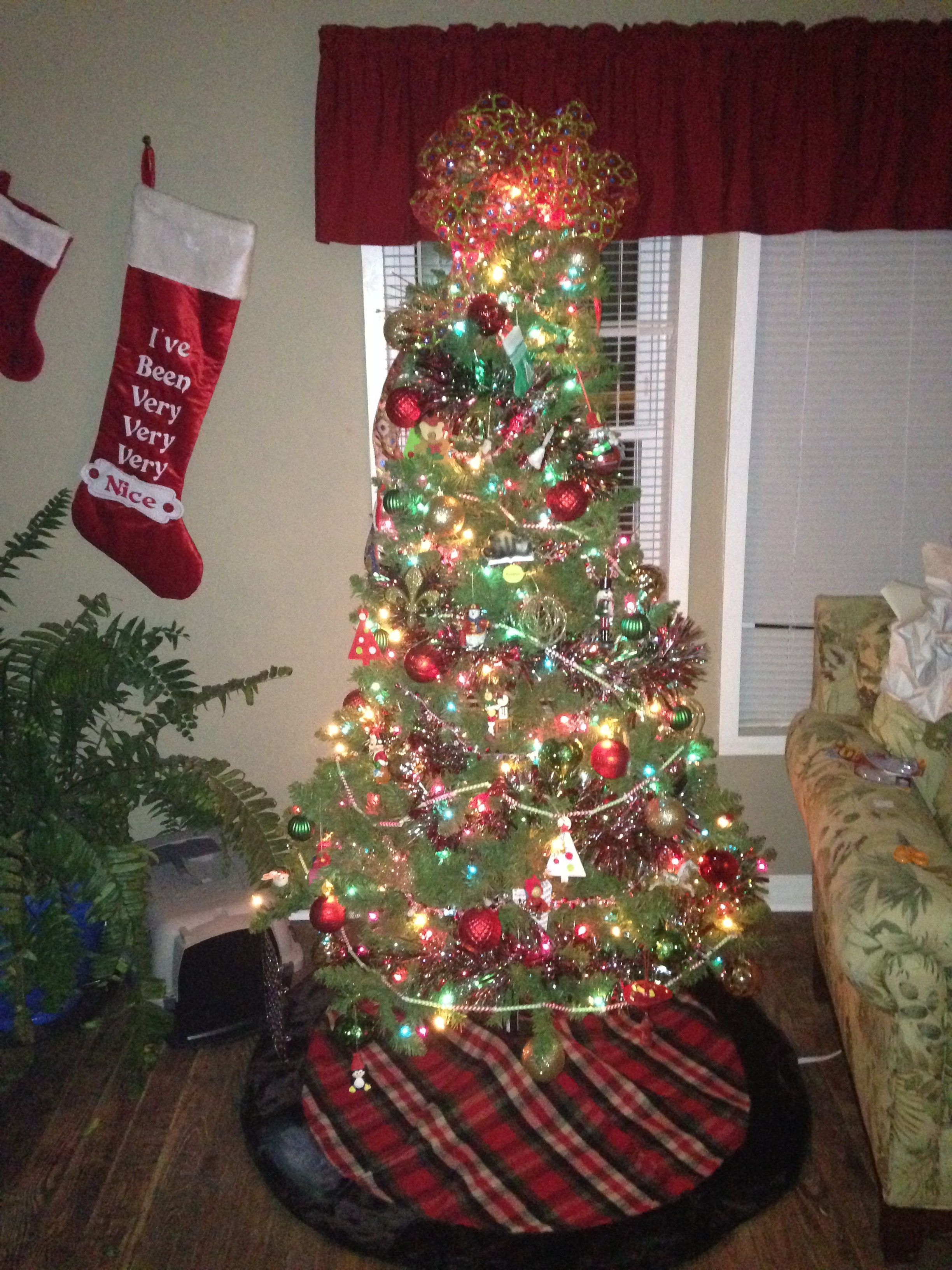 My husband and mines first tree together. It has all the ornaments that his Mom saved for him every year. Makes the most beautiful tree ever to me.