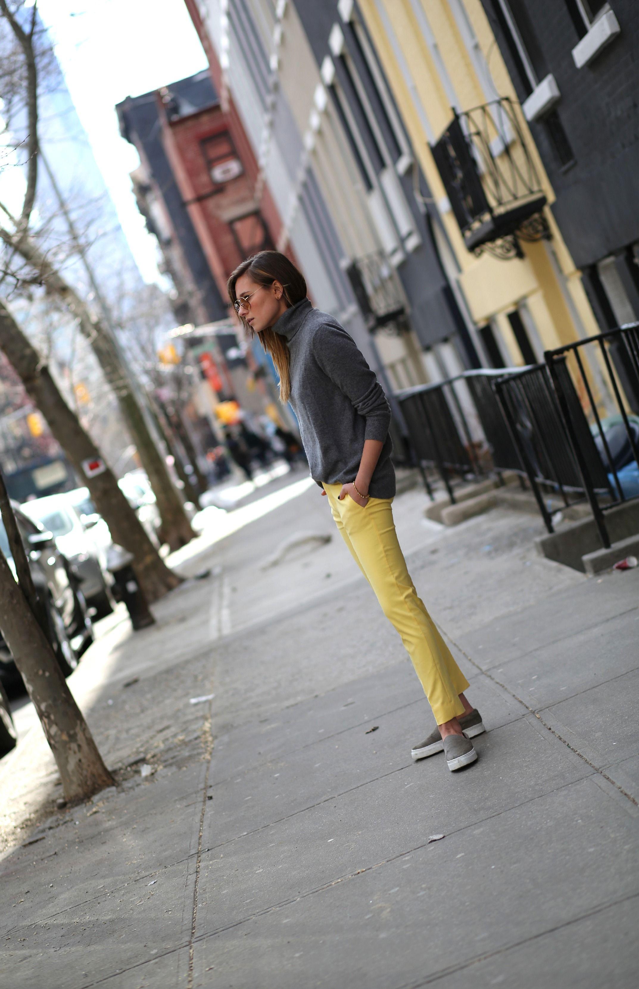 #weworewhat #daniellebernstein #zara #equipment #yellow #spring #yellow #grey