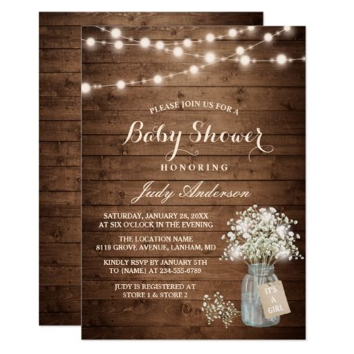 baby shower rustic baby's breath floral mason jar card | babies, Baby shower invitations