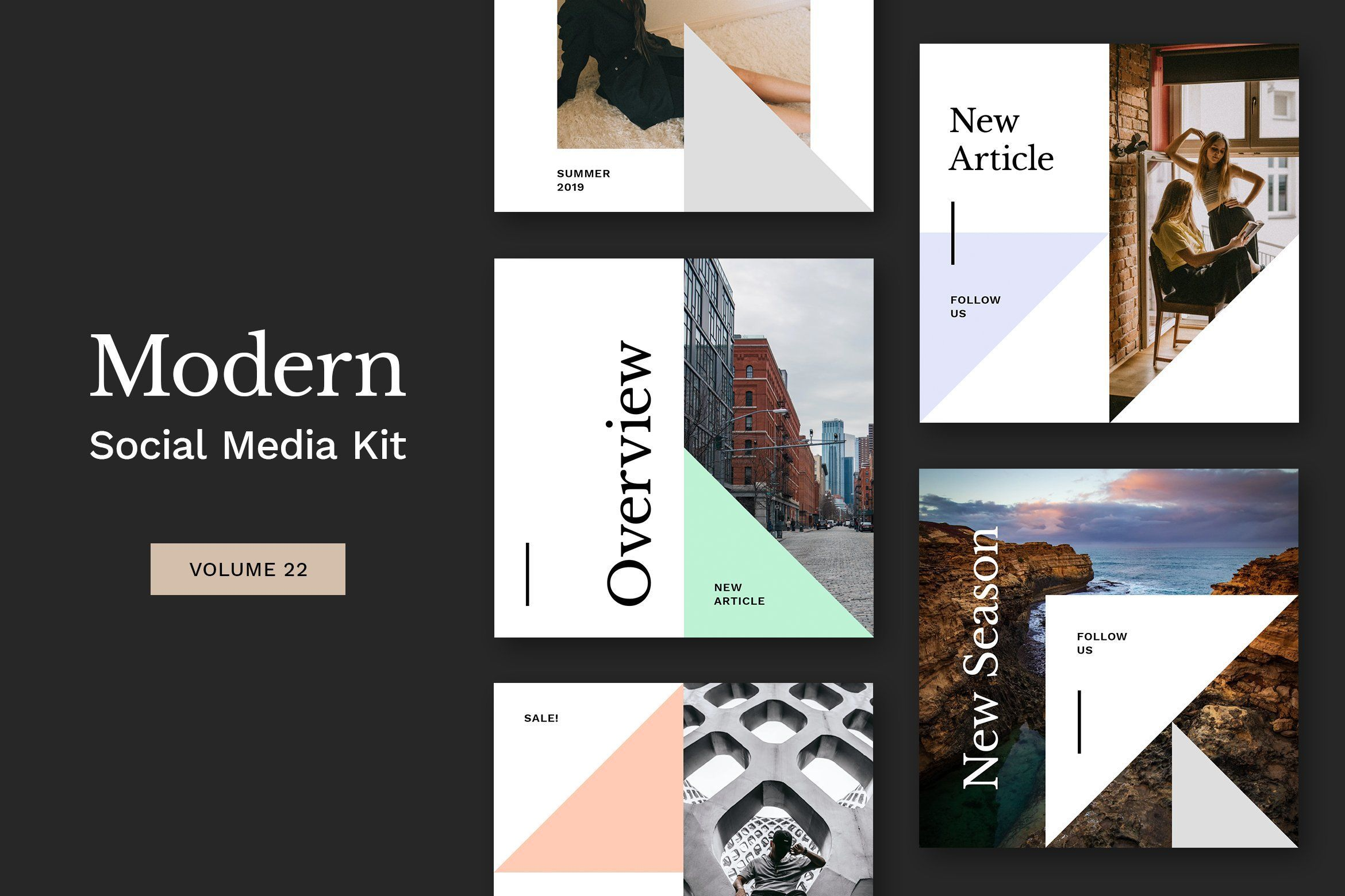. Instagram social media kit  8 unique and modern PSD templates for