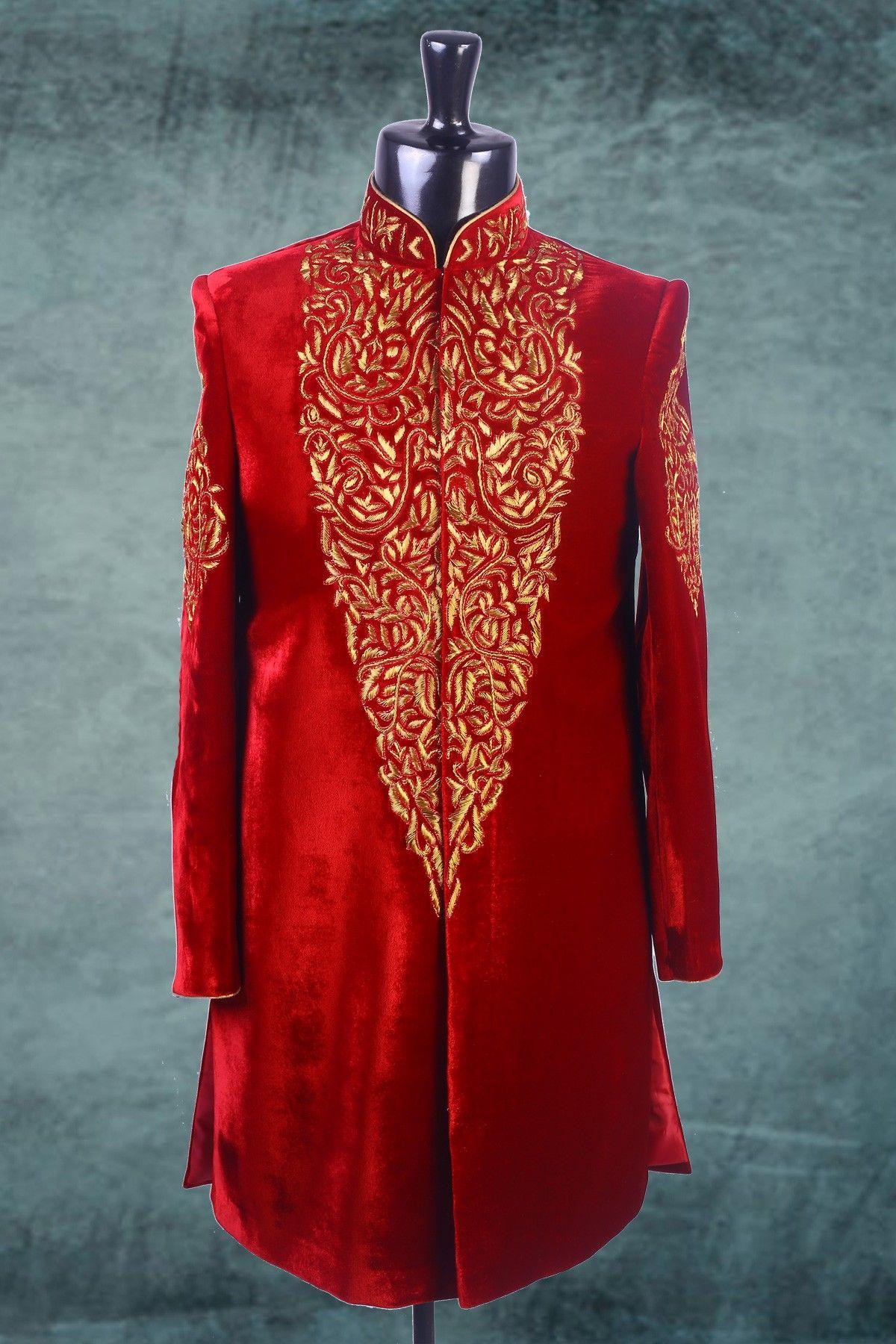 Red velvet thread worked indowestern sherwani iw men outfit