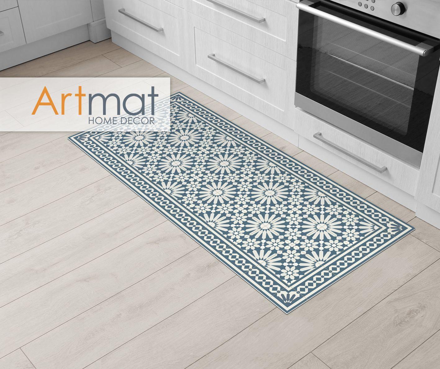 Vinyl Runner Rug Or Hallway Runner With Moroccan Tiles Design In