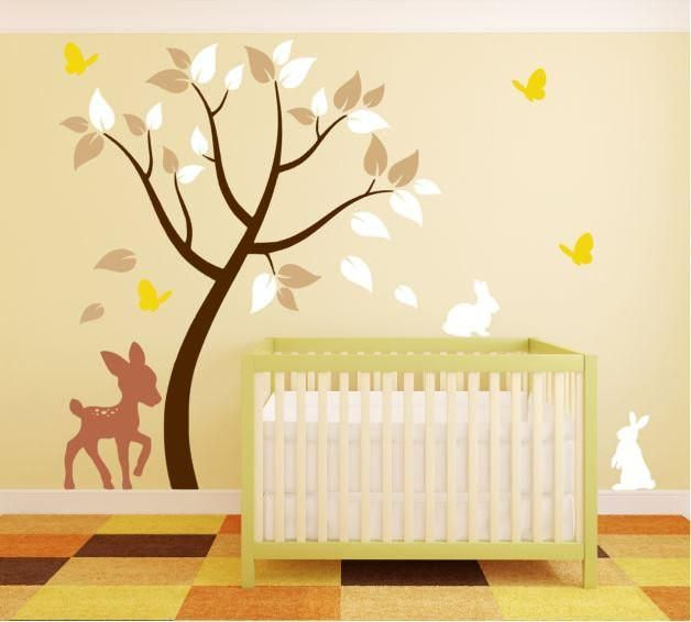 Tree Wall Decal with Deer, Bunnies, and Butterflies for Nursery ...