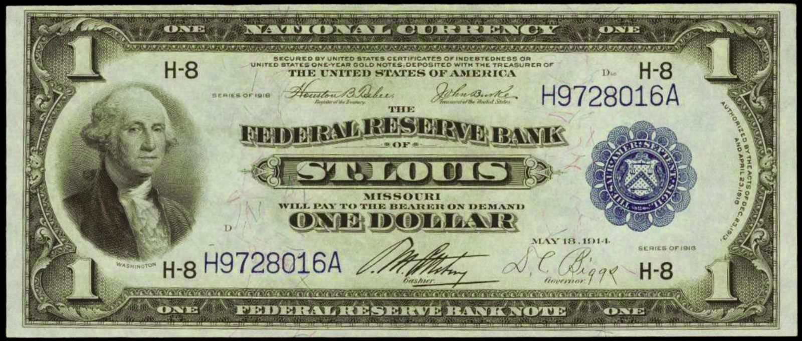 United States banknotes One Dollar Federal Reserve Bank Note Series 1918. St. Louis