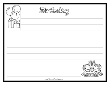 Birthday Writing Template Writing Template Free To Download And