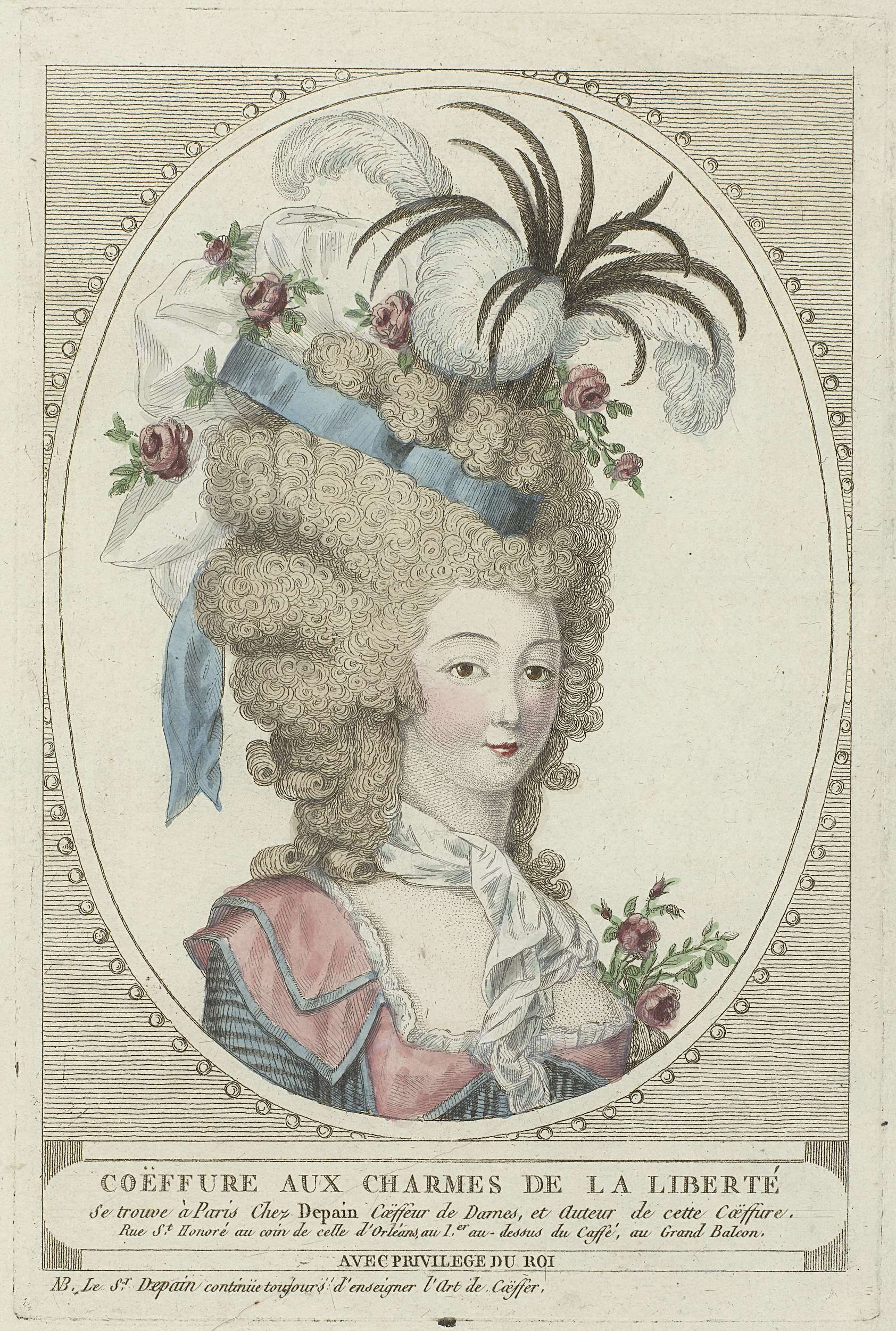 She wears a dress with a double collar; a cravat, and a hat with ribbons,  feathers, roses, and springs. Etching, anonymous, c. 1790.