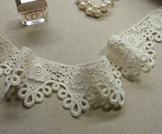 1 yard  Vintage  style Cotton Crochet Lace Trim 6cm wide #357 #dollunderware