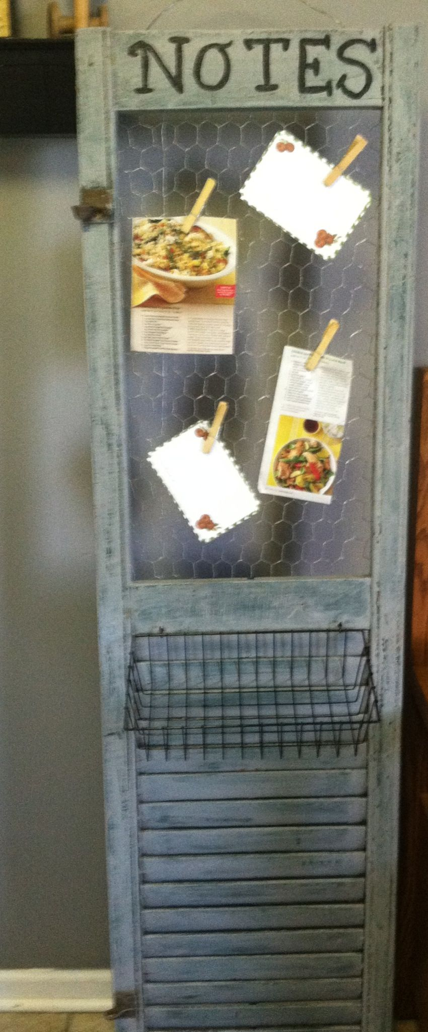 shutter repurposed with chicken wire insert to hold notes and ...
