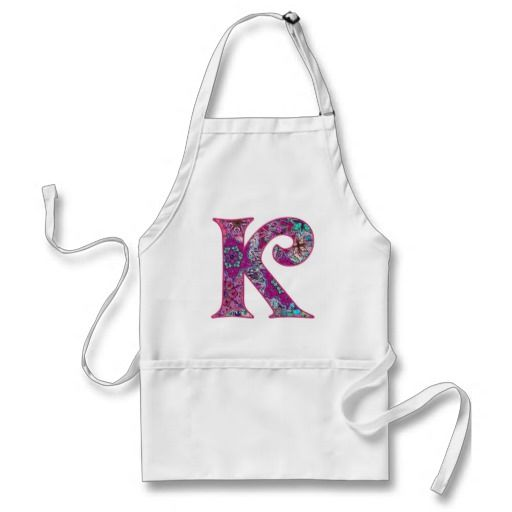 Discount Initial Apron  Letter K Festive Pink Initial Apron