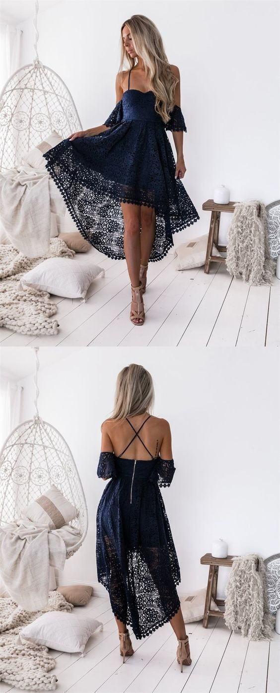 T-length lace wedding dresses november 2018 Sheath High Neck Sleeveless Navy Blue KneeLength Lace Homecoming