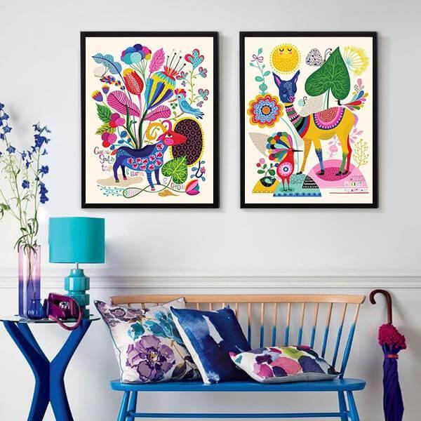 Boho Flower Animal Canvas Art Animal Canvas Art Animal Wall Canvas Animal Canvas