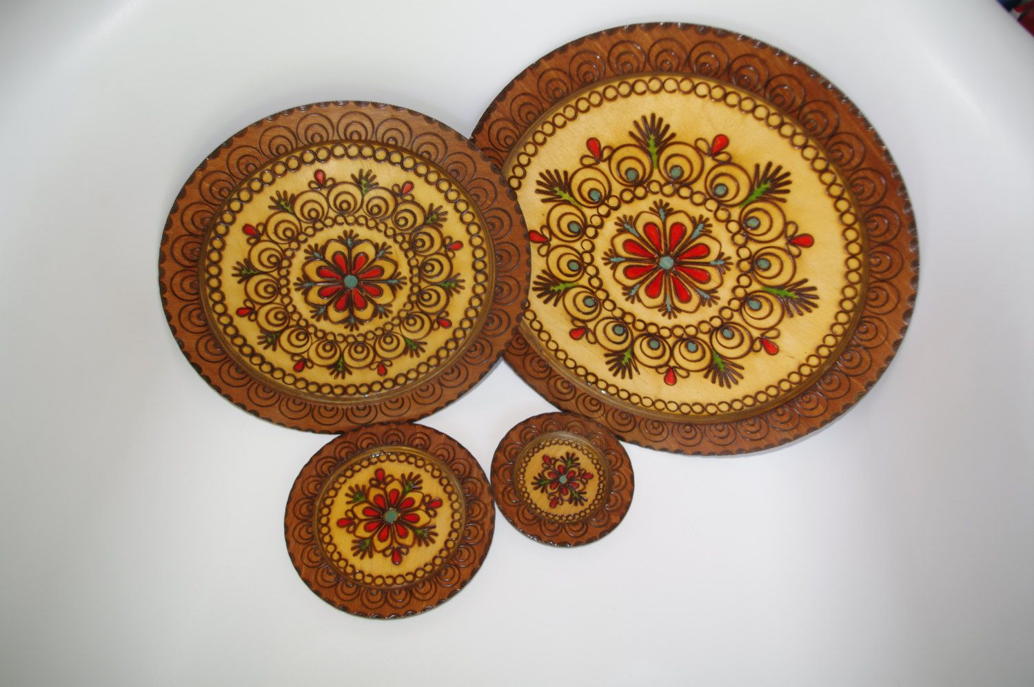 Vintage Handcarved Brown Wooden Plates Set of 4 Woodburning Pyrography Polishu2026 : polish wooden plates - pezcame.com