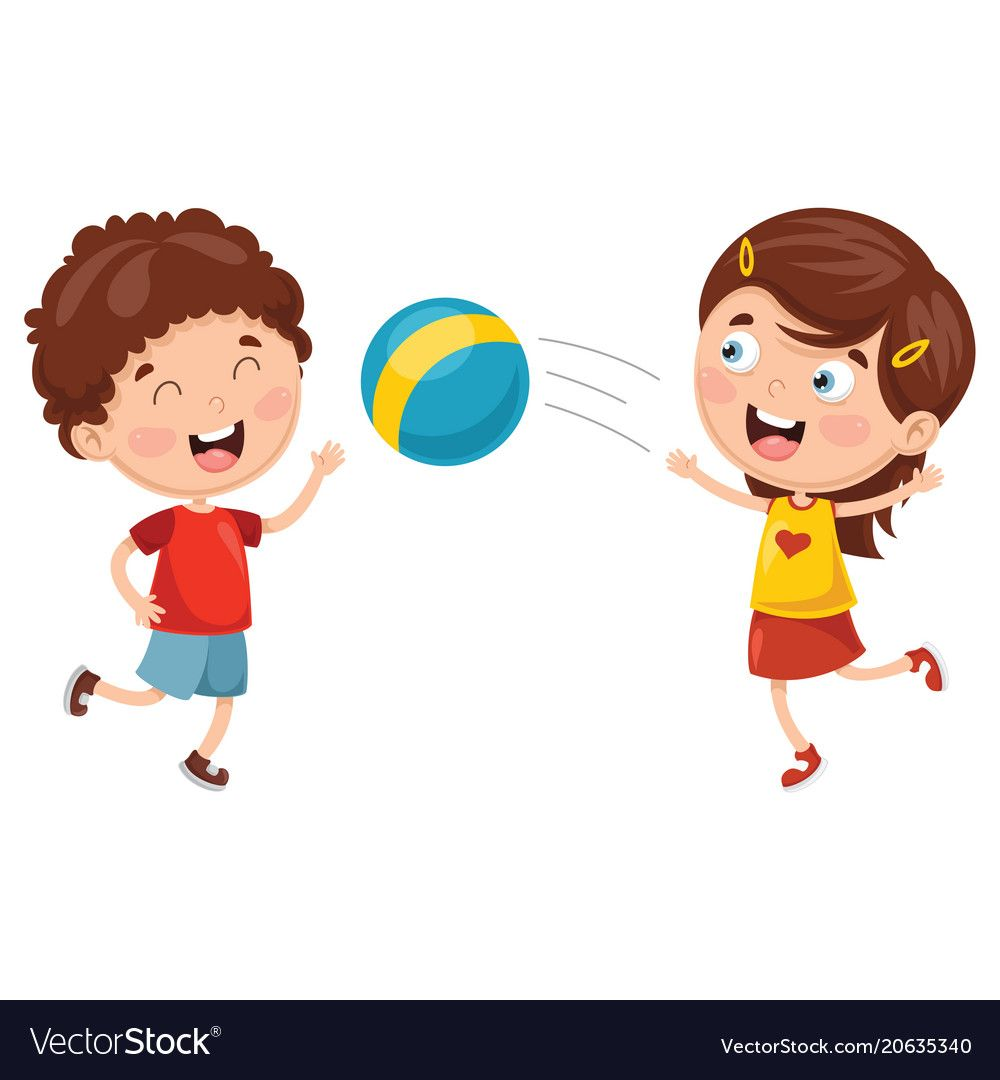 Kids Playing With Ball Vector Image On Vectorstock Kids Playing Kids Autism Pictures