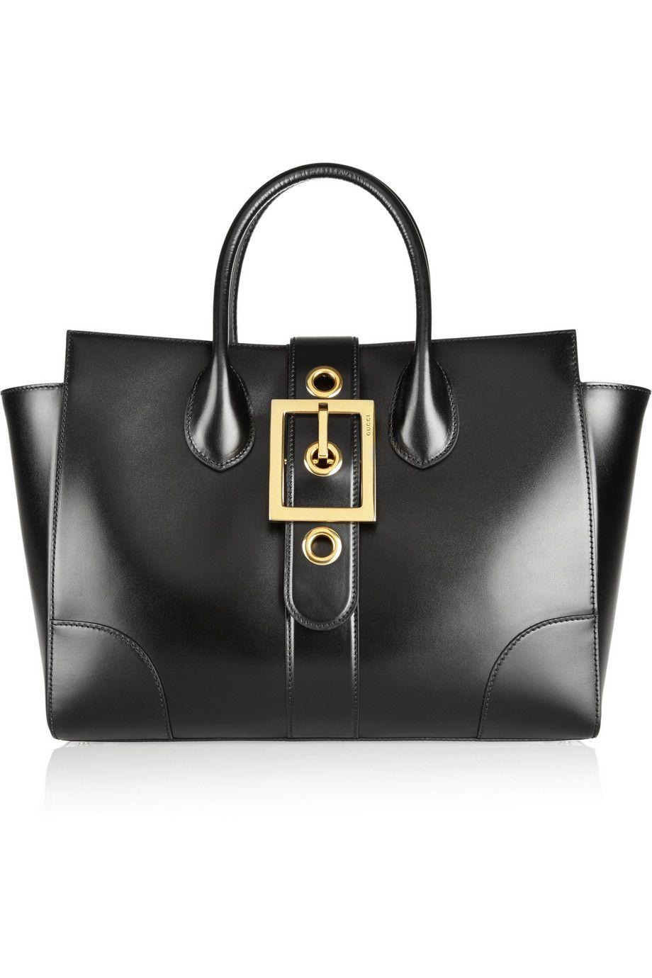 Gucci | Buckle-detailed leather trapeze bag | NET-A-PORTER.COM