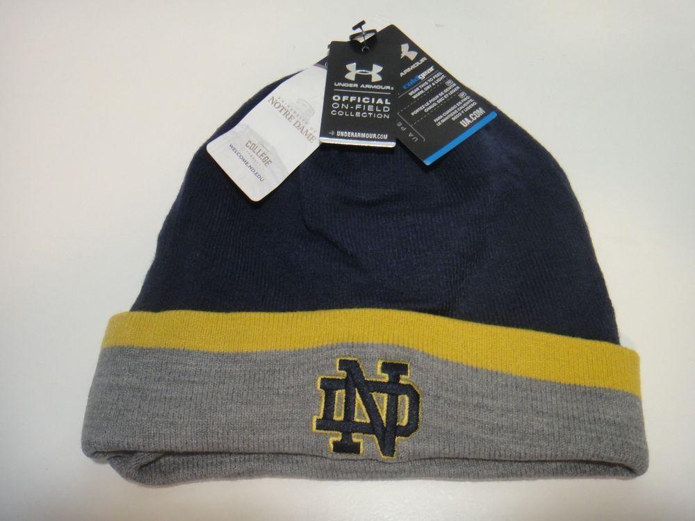 00c56c5a8da Under Armour Mens Notre Dame on Field Coldgear Beanie Hat Color Navy Blue   Underarmour