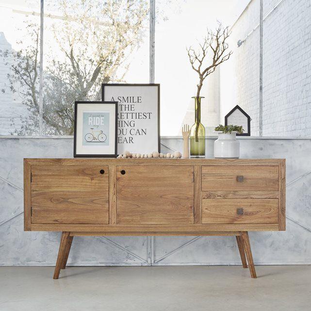 Buffet en bois de mindy - Largeur 180 cm - 2 portes 2 tiroirs - OSLO