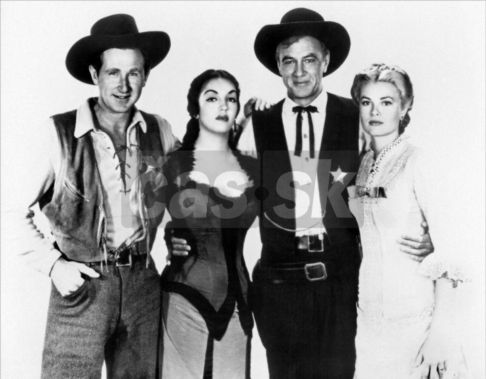 Dodnes je film Na pravé poludnie najslávnejším westernom. Na snímke zľava Lloyd Bridges, Katy Jurado, Gary Cooper a Grace Kelly