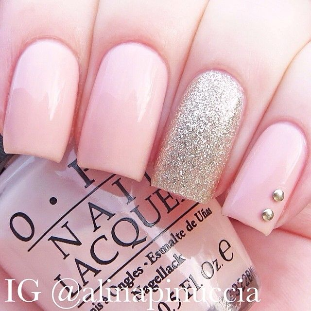 Pink nails with glitter accent | OPI - "|640|640|?|en|2|c3c3411bf68b6a713da66ee9a7c007ce|False|UNLIKELY|0.34047436714172363
