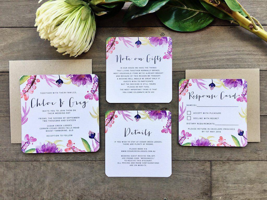 luau wedding invitation templates%0A purple tropical island floral flower watercolour watercolour invitation  suite theme unique bright Melbourne Australia designer hawaii