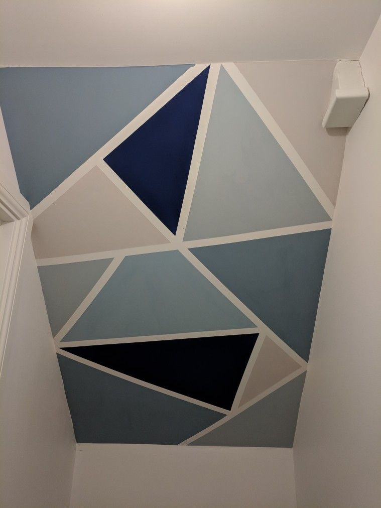 Diy Painted Geometric Wall Geometric Wall Paint Accent Wall