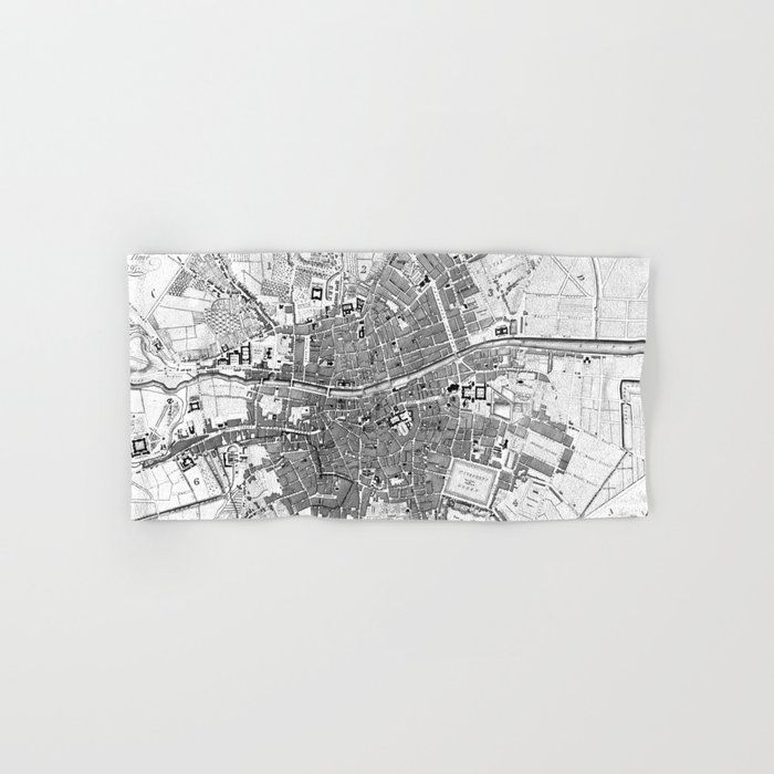 Vintage Map Of Dublin Ireland (1797) Bw Hand & Bath Towel by Bravuramedia - Hand Towel