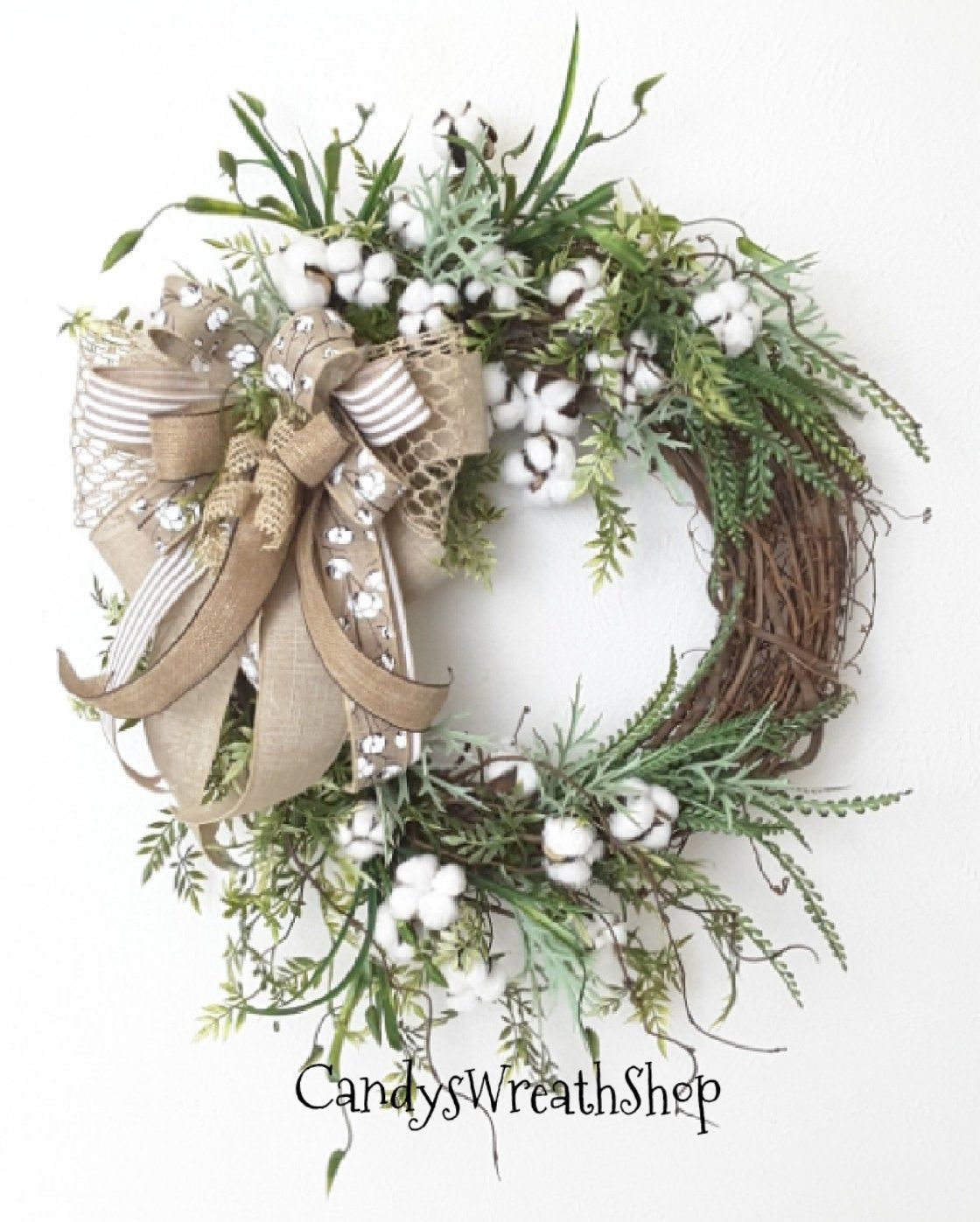 Photo of Summer Wreath, Cotton Boll Wreath, Southern Wreath, Floral Wreath, Farmhouse Wreath, Grapevine Wreath, Cotton Wreath, Summer Floral Wreath
