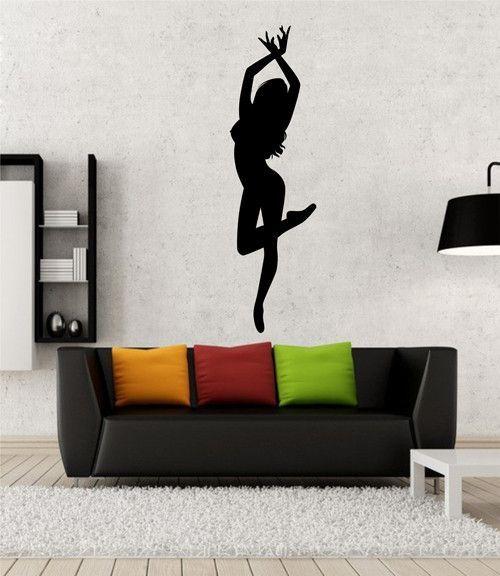 Ik2291 Wall Decal Sticker Beautiful Girl Dance Pose Dance Hall