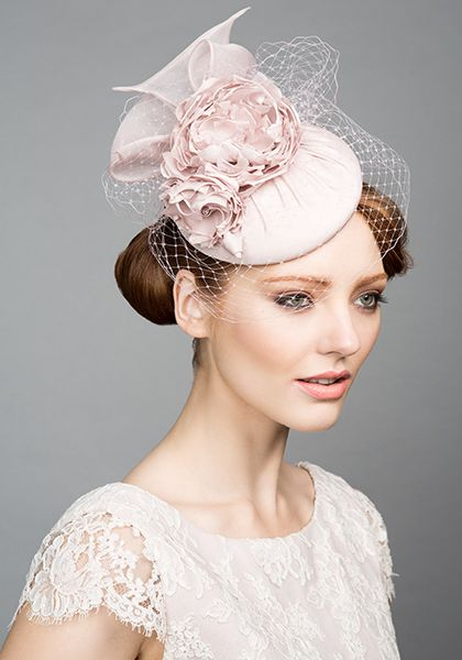 Rachel Trevor Morgan Millinery S/S 2015, R1574 Dusty pink pillbox with organdie flower and bow