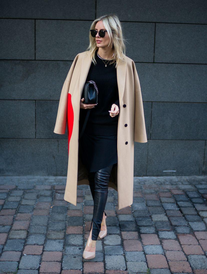 MSGM coat, Utzon leather skinny pants #StreetStyle