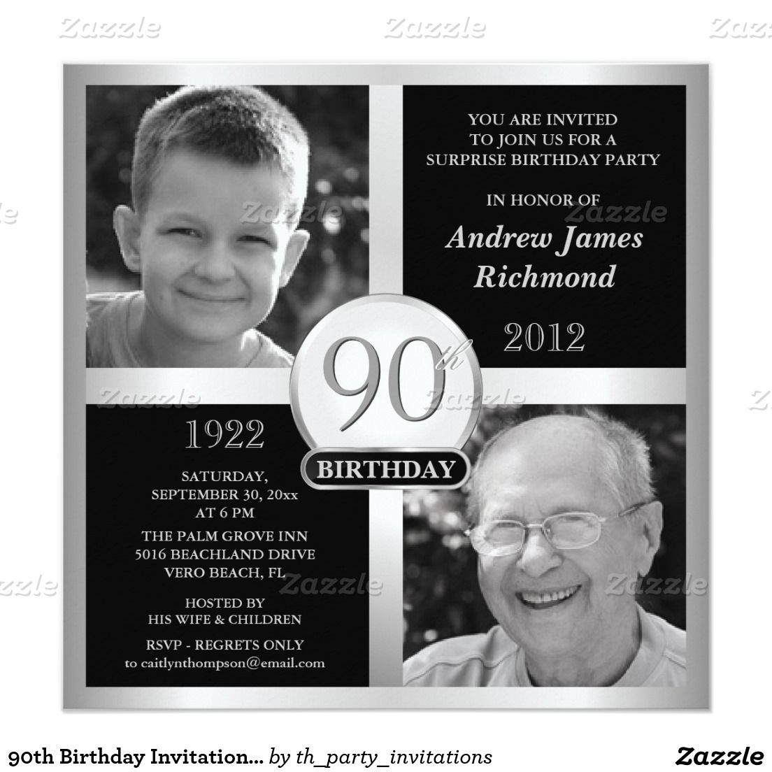 90th Birthday Invitations Then & Now 2 Photos | 90th birthday ...