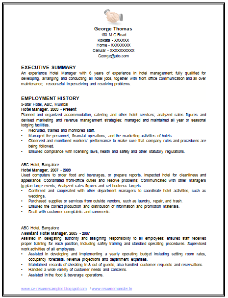 sample template of an excellent restaurant manager resume example with work experience