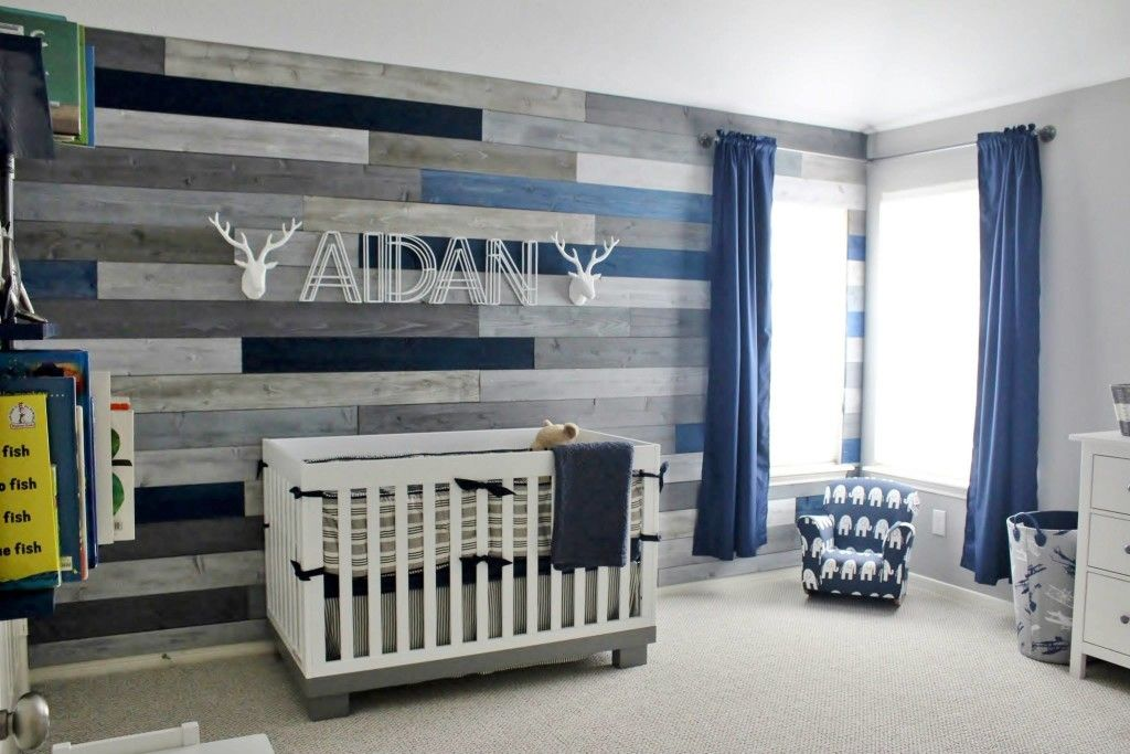 Modern Navy And Grey Rustic Nursery With Images Baby Boy Room