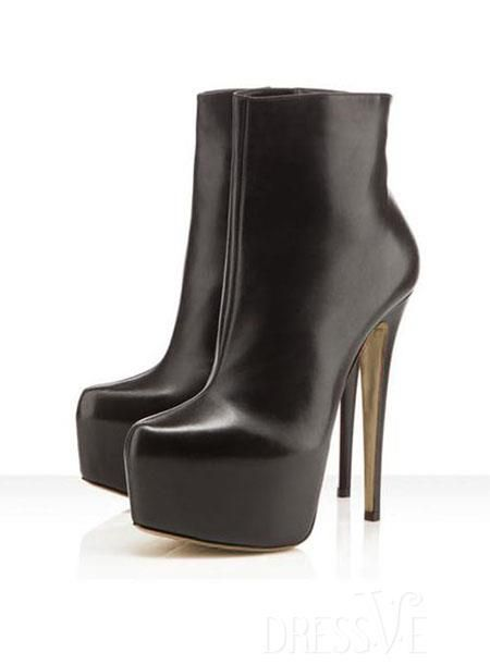 Black Glamorous Stiletto Heels Suede Euramerican Black Boots