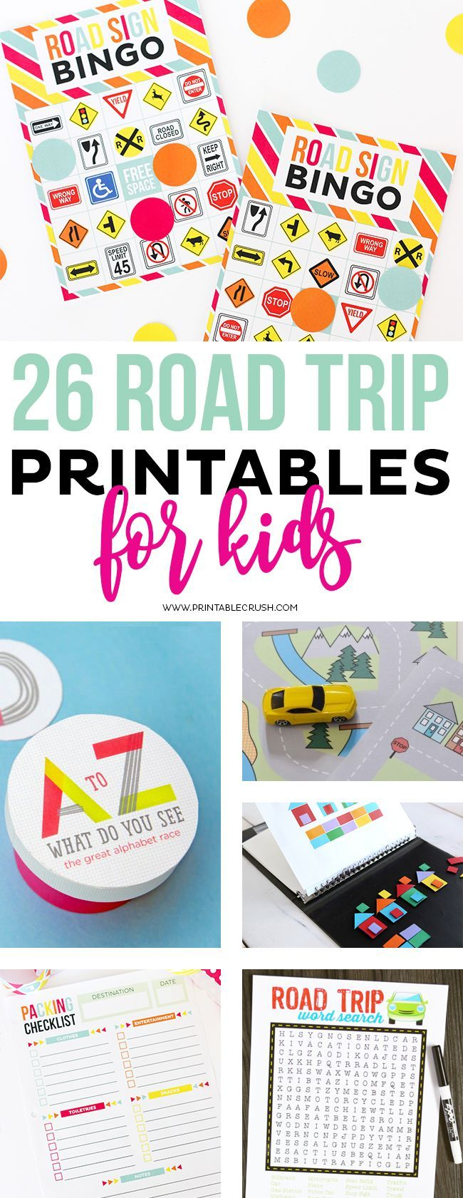 this list of 26 road trip printables for kids will keep your kiddos entertained for hours