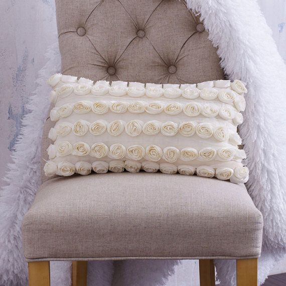 CREAM ROSETTE PILLOW .  Beautiful Rosettes and by CLOUDHUNTERCO, $70.00