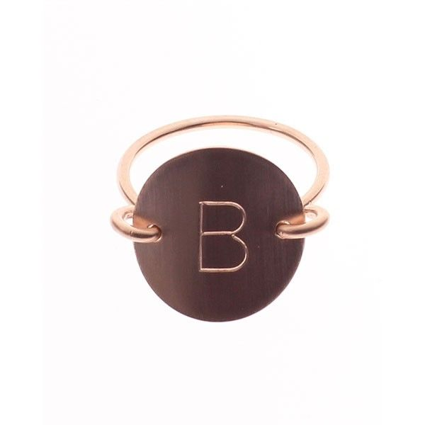 "Size 6 1/2, rose gold, ""B"" Stamped Ring 