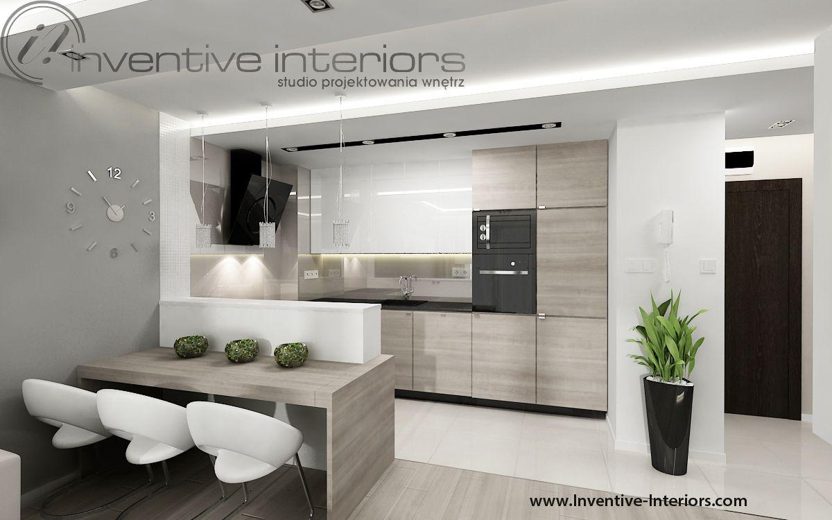 Projekt kuchni Inventive Interiors - jasny aneks kuchenny ze stołem  Projekt mieszkania 44m2 ...