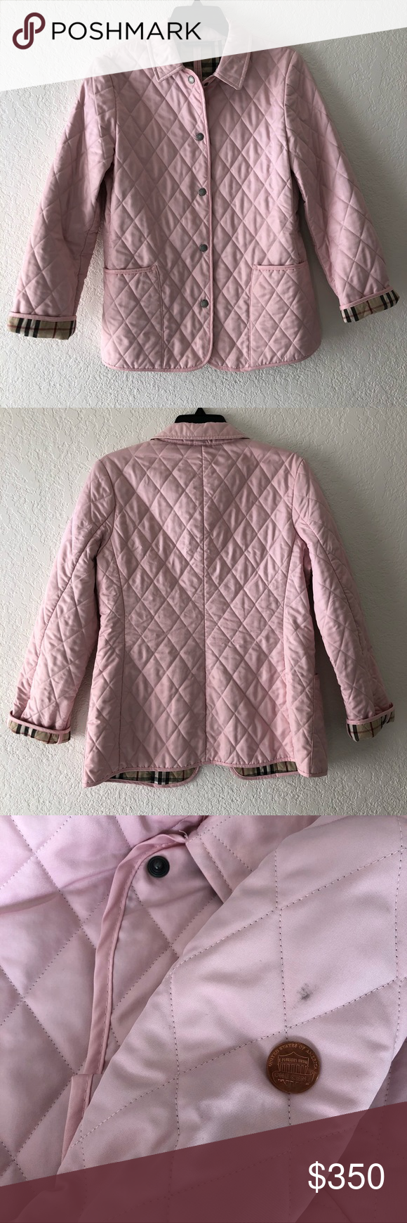 Burberry Diamond Quilted Light Pink Snap Jacket With Images Pop Stitch Quilted Jacket Fashion